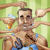 Role model. Cartoon-style illustration. A scruffy fat tattooed man surrounded by seven hands, scratching him or holding some objects: a glass of beer, a remote Royalty Free Stock Photography