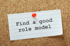 Role Model Concept. The phrase Find A Good Role Model typed on a piece of paper and pinned to a cork notice board Stock Image