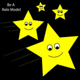 Role Model Shooting Stars. Older shooting stars being role models for younger stars royalty free stock photo
