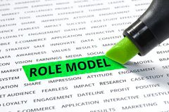 Role model word highlighted with marker on paper Royalty Free Stock Photography