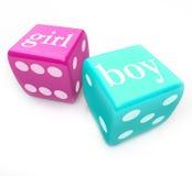 Role os dados - entregue o bebê do menino ou da menina na gravidez Imagem de Stock