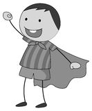 Role play. Boy in a role play wearing cape in black and white Royalty Free Stock Images