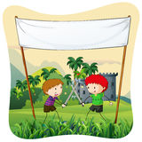 Role play. Poster of two boys doing role play with swords Stock Images