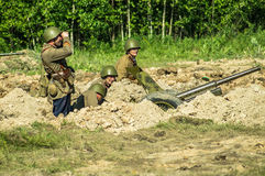 A role - play reconstruction of one of the battles of World war 2 on the outskirts of Moscow in the Kaluga region in Russia. Royalty Free Stock Photos