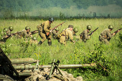 A role - play reconstruction of one of the battles of World war 2 on the outskirts of Moscow in the Kaluga region in Russia. Stock Photography