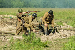 A role - play reconstruction of one of the battles of World war 2 on the outskirts of Moscow in the Kaluga region in Russia. Royalty Free Stock Photo