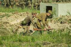 A role - play reconstruction of one of the battles of World war 2 on the outskirts of Moscow in the Kaluga region in Russia. Stock Images