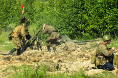 A role - play reconstruction of one of the battles of World war 2 on the outskirts of Moscow in the Kaluga region in Russia. Royalty Free Stock Images