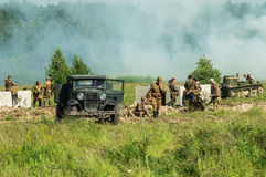 A role - play reconstruction of one of the battles of World war 2 on the outskirts of Moscow in the Kaluga region in Russia. Royalty Free Stock Photography