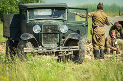 A role - play reconstruction of one of the battles of World war 2 on the outskirts of Moscow in the Kaluga region in Russia. Royalty Free Stock Image