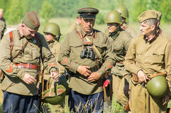 A role - play reconstruction of one of the battles of World war 2 on the outskirts of Moscow in the Kaluga region in Russia. Stock Photos