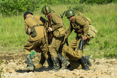 A role - play reconstruction of one of the battles of World war 2 on the outskirts of Moscow in the Kaluga region in Russia. In Russia popularity of the Stock Photos