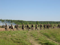 A role - play reconstruction of one of the battles of World war 2 on the outskirts of Moscow in the Kaluga region in Russia. Stock Photo