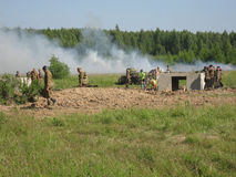 A role - play reconstruction of one of the battles of World war 2 on the outskirts of Moscow in the Kaluga region in Russia. Stock Image