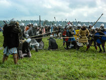 Role play - the reenactment of the battle of the ancient Slavs on the festival of historical clubs in the Kaluga region of Russia. In recent years, Russia Stock Photography