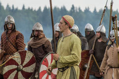 Role play - the reenactment of the battle of the ancient Slavs in the fifth festival of historical clubs in Zhukovsky district of. Kaluga region of Russia. In Royalty Free Stock Photography