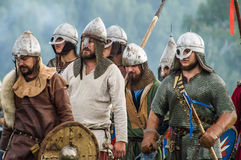 Role play - the reenactment of the battle of the ancient Slavs in the fifth festival of historical clubs in Zhukovsky district of. Kaluga region of Russia. In Stock Image