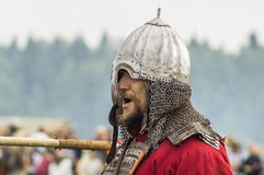 Role play - the reenactment of the battle of the ancient Slavs in the fifth festival of historical clubs in Zhukovsky district of. Kaluga region of Russia. In Stock Photo
