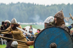 Role play - the reenactment of the battle of the ancient Slavs in the fifth festival of historical clubs in Zhukovsky district of Royalty Free Stock Images