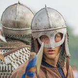 Role play - the reenactment of the battle of the ancient Slavs in the fifth festival of historical clubs in Zhukovsky district of Stock Photo