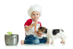 Role-playing game. Kid boy plays chef with pet. Child weared cook feeds dog. Royalty Free Stock Photos