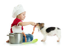 Role-playing game. Kid boy plays chef with pet. Child weared cook feeds dog. Royalty Free Stock Images