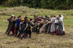 Role-playing game recreates battles of the Mongol-Tatar yoke in the Kaluga region of Russia on 10 September 2016. The reenactment of the battle of the Mongol stock photography
