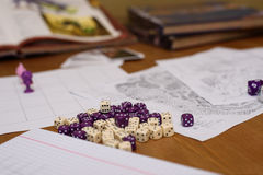 Role playing game set up on table isolated on black background Royalty Free Stock Photos