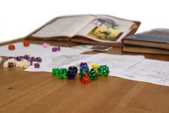Role playing game set up on table isolated on white background Stock Image