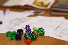 Role playing game set up on table Stock Images