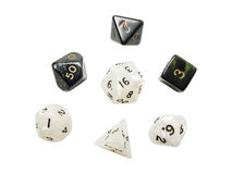 ROLE PLAYING GAMES DICE. Black and white role playing games dice isolated on white background Stock Photography