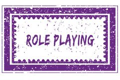 ROLE PLAYING in magenta grunge square frame stamp. Illustration image Stock Images