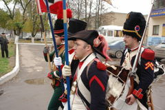Role-playing setting, dedicated to the 1812 war with Napoleon, in the city of Maloyaroslavets, Kaluga region (2009). Stock Photos