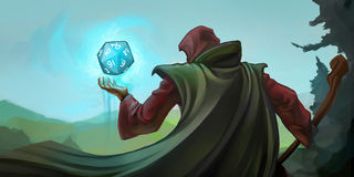 Role playing Wizard. Wizard role playing game character with a magic 20-sided die Royalty Free Stock Photos