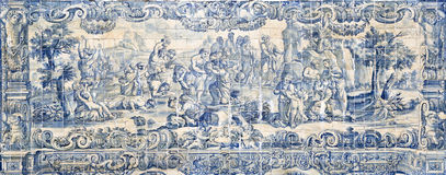 Role of the Water on 18th Century Tiles Panels Royalty Free Stock Image