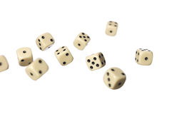 Roled dices. Towards white background Stock Photos