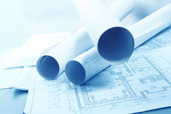 Roled -up plans Stock Photography