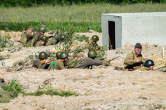 Roleplay - battle reenactment on the outskirts of Moscow during World war 2 in the Kaluga region in Russia. Stock Photos