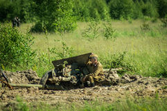 Roleplay - battle reenactment on the outskirts of Moscow during World war 2 in the Kaluga region in Russia. Stock Photo