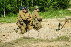 Roleplay - battle reenactment on the outskirts of Moscow during World war 2 in the Kaluga region in Russia. Royalty Free Stock Image