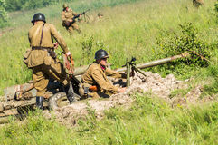 Roleplay - battle reenactment on the outskirts of Moscow during World war 2 in the Kaluga region in Russia. Stock Images