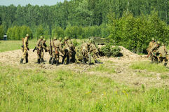 Roleplay - battle reenactment on the outskirts of Moscow during World war 2 in the Kaluga region in Russia. Stock Image
