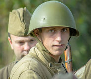 Roleplay - reconstruction of battle of 1941 World war 2 in the Kaluga region of Russia. Royalty Free Stock Photo
