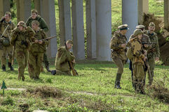 Roleplay - reconstruction of battle of 1941 World war 2 in the Kaluga region of Russia. Stock Photography