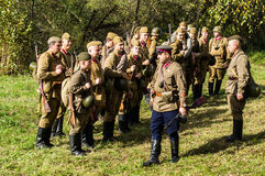 Roleplay - reconstruction of battle of 1941 World war 2 in the Kaluga region of Russia. Stock Photos