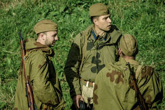 Roleplay - reconstruction of battle of 1941 World war 2 in the Kaluga region of Russia. Stock Photo