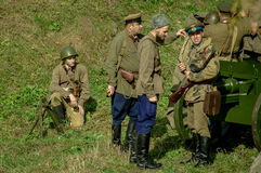 Roleplay - reconstruction of battle of 1941 World war 2 in the Kaluga region of Russia. Royalty Free Stock Photos