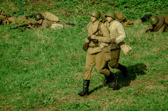 Roleplay - reconstruction of battle of 1941 World war 2 in the Kaluga region of Russia. Stock Image
