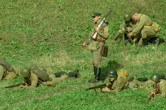 Roleplay - reconstruction of battle of 1941 World war 2 in the Kaluga region of Russia. Royalty Free Stock Images