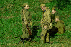 Roleplay - reconstruction of battle of 1941 World war 2 in the Kaluga region of Russia. Royalty Free Stock Photography